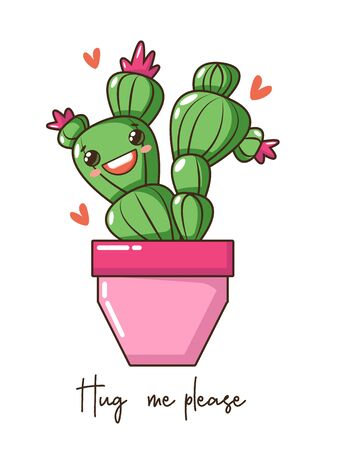 Cute kawaii baby cactus succulent with happy funny smile face in pot, crown flower and wishes, fashion slogan. Vector Nursery design poster, birthday, greeting cards, invitations or like sticker