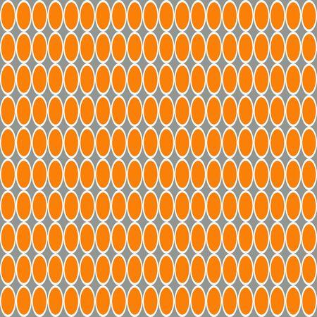 Óvalos blancos y naranjas de patrones sin fisuras sobre un fondo gris.