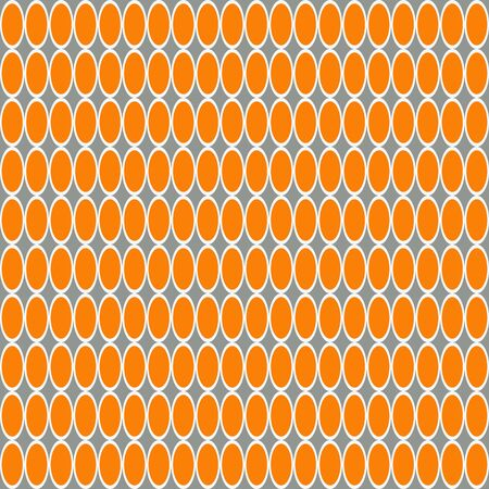 White and orange ovals seamless pattern on a gray background. Vectores