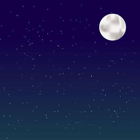Fondo nocturno con luna llena sobre fondo estrellado. Ilustración de vector.