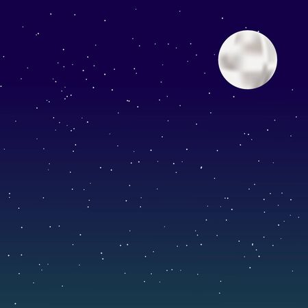 Night background with full moon on starry background. Vector illustration.