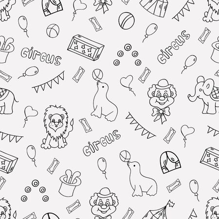Circus seamless pattern. Doodle elements. Vector illustration.