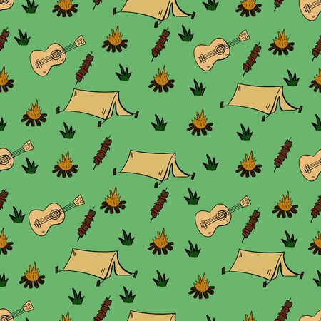 Tourism and camping seamless pattern. Doodle camping elements. Vector illustration.