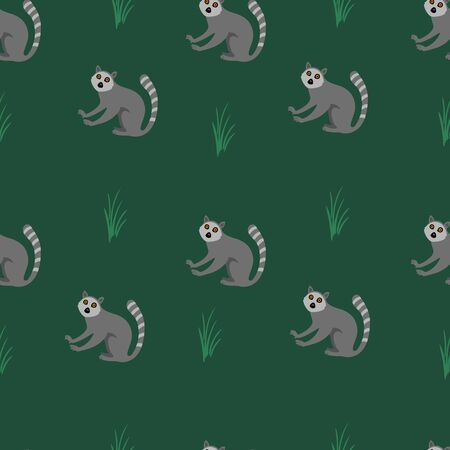 Seamless pattern with lemurs. Vector illustration.