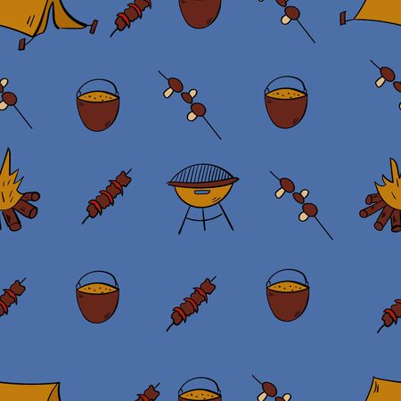 Tourism and camping seamless pattern. Barbecue Doodle camping elements. Vector illustration.