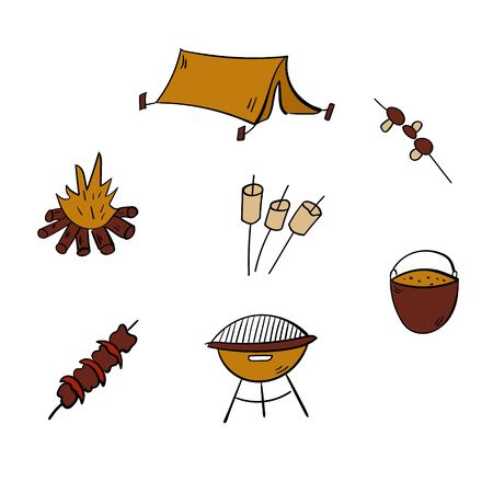 Tourism and camping set. Doodle camping elements. Barbecue.Vector illustration. Vettoriali