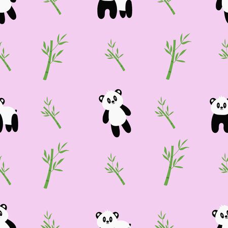 Seamless pattern with cute cartoon panda and bamboo. Vector Ilustracje wektorowe