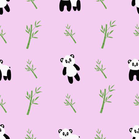 Seamless pattern with cute cartoon panda and bamboo. Vector Vektoros illusztráció