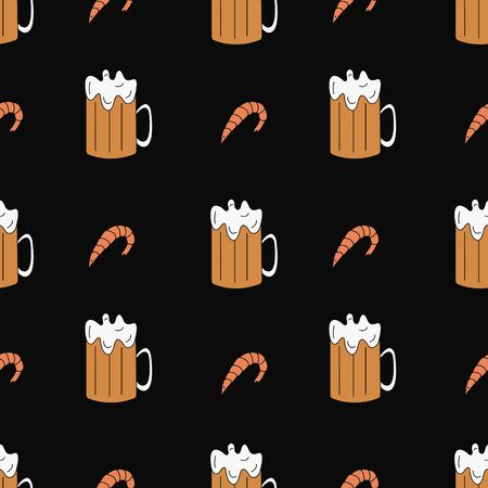 Seamless pattern with beer and shrimp. Doodle element. Vector illustration.