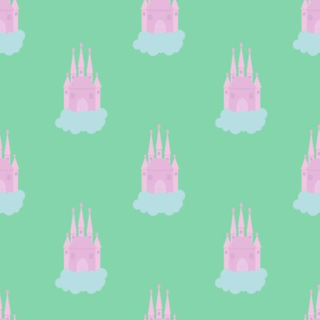 Fairytale castle in the clouds. Princess Castle Vector illustration. Seamless pattern.