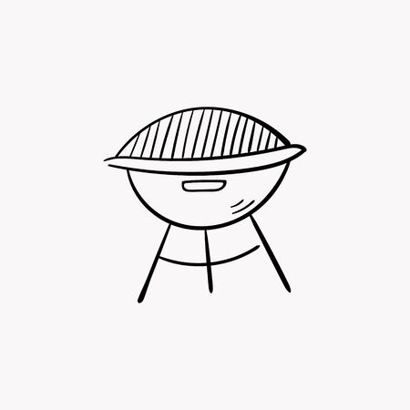 Barbecue doodle icon. Drawing by hand. Vector illustration.