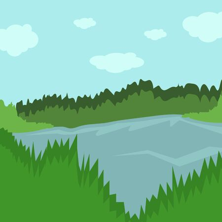 Forest landscape. Forest lake. Vector illustration in a flat style. Ilustrace