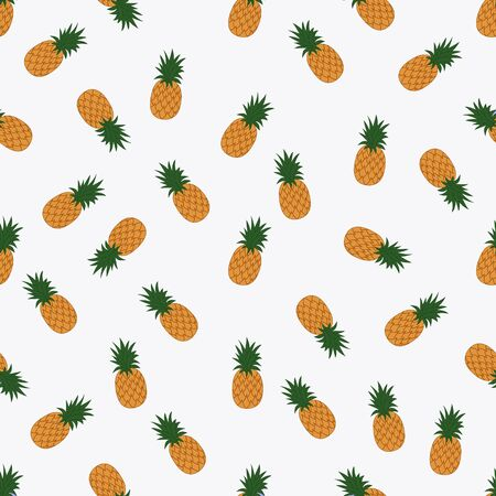 Seamless pattern with pineapples on a white background. Vector illustration.