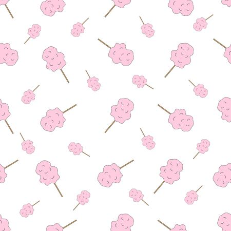 Cotton candy seamless pattern. Vector illustration.