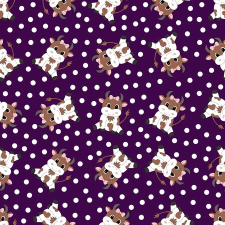 Seamless pattern with cartoon cow. Vector illustration.