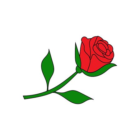 Rose doodle icon. Drawing by hand. Vector illustration.