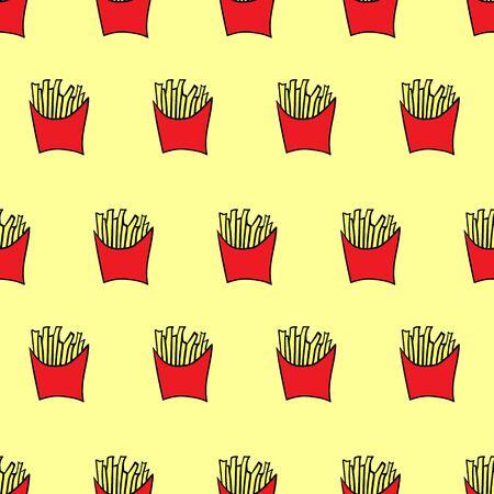 Seamless pattern french fries. Vector flat illustration. Ilustração