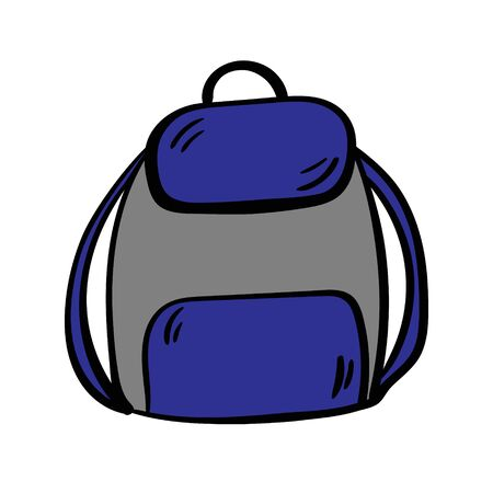 Backpack doodle icon. Drawing by hand. Vector illustration. Vettoriali