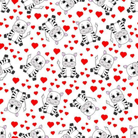 Cartoon cute zebra. Vector illustration for children. Seamless pattern.  イラスト・ベクター素材