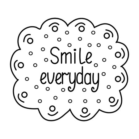 Smile everyday. Inspirational quote. Hand drawn vintage illustration. 向量圖像
