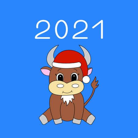 Cartoon bull. New year background 2021. Vector illustration. Illustration
