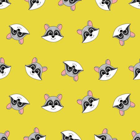 Cartoon cute raccoon. Vector illustration for children. Seamless pattern.