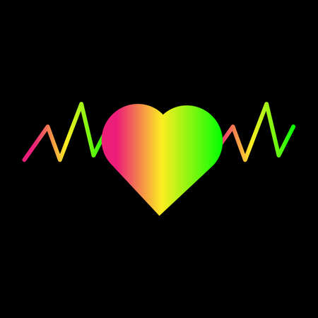 Beautiful gradient pink yellow green heart on a black background. Vector illustration.