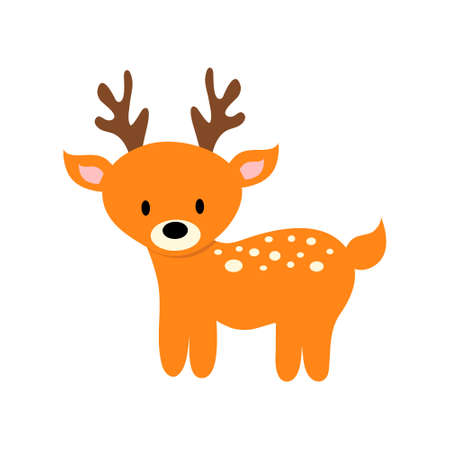 Cartoon cute deer. Vector illustration for children.