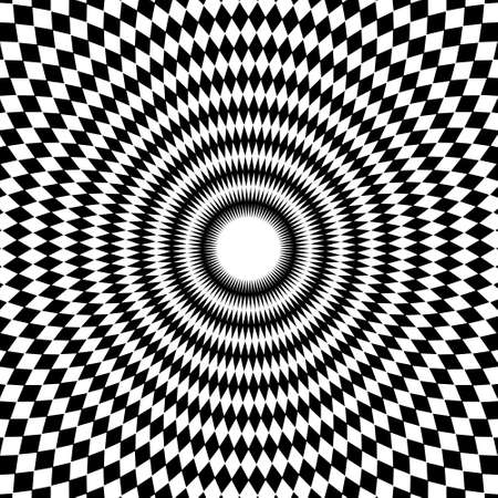 Black and white abstract round background. Optical art. Vector.