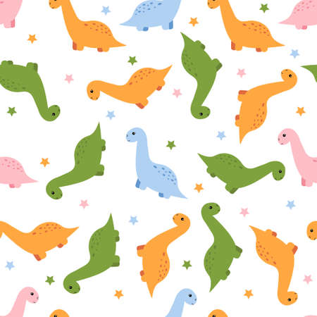 Seamless pattern with cute kawaii dinosaur. Vector illustration.