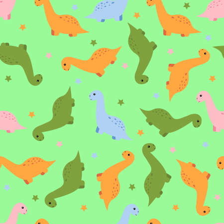 Seamless pattern with cute  dinosaur. Vector illustration.