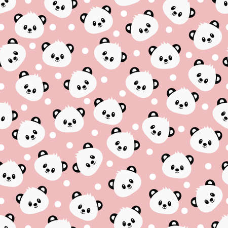 Seamless pattern with cute panda. Vector illustration.