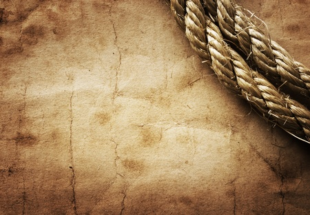 aged Rope on the old paper background
