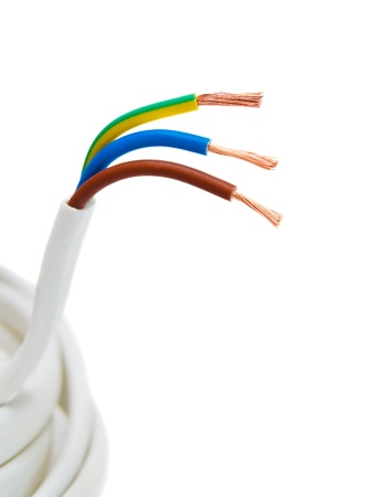 closeup of a three-phase electric cable on a white background photo
