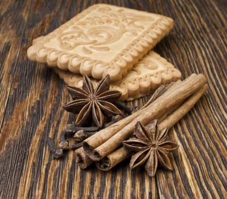 Ginger cookies with cinnamon and anise photo
