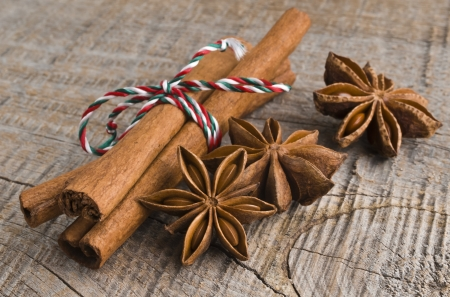 stick of cinnamon: Star anise with cinnamon at christmas time  selective focus