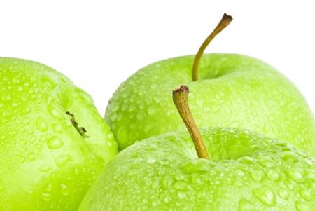 manzana: manzana verde macro de enfoque selectivo