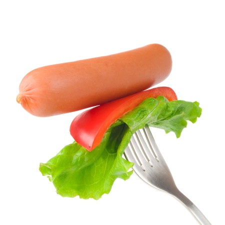 tine: Close up of sausage and fork isolated on white background Stock Photo
