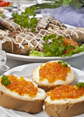 sandwich with red caviar photo