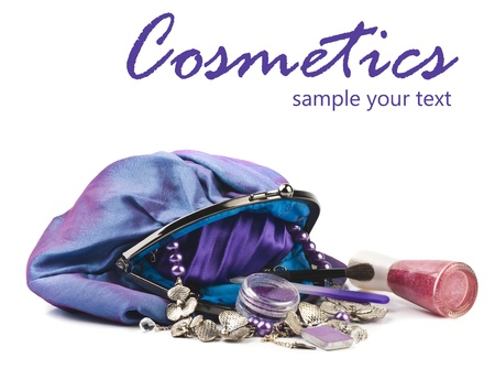 Make-up tas geà ¯ soleerd op een witte achtergrond Stockfoto