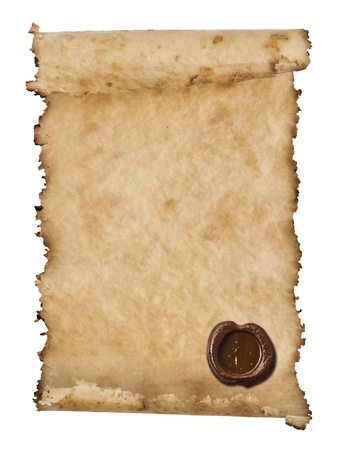 manuscript on parchment: old paper with a wax seal on a white background
