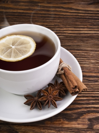 hot tea with lemon and evaporation photo