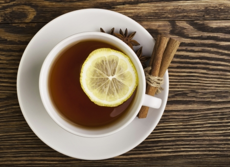 Cup of tea with lemon photo