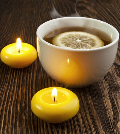 evaporation: hot tea with lemon and evaporation