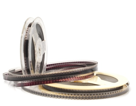 celluloid film: old Film Reel isolated on a white background