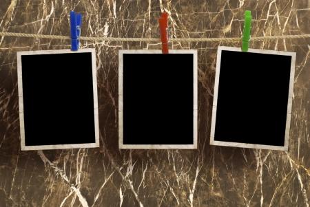 Film Blanks Opknoping op een Rope aangehouden door wasknijpers Stockfoto