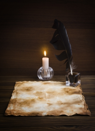 old papers on a wooden table Stock Photo - 16247496