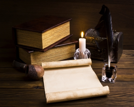 old papers and books on a wooden table Stock Photo - 16254503