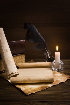 guide book: old papers and books on a wooden table