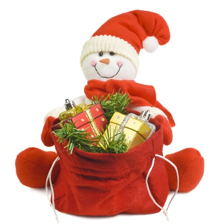 Snowman with gifts photo
